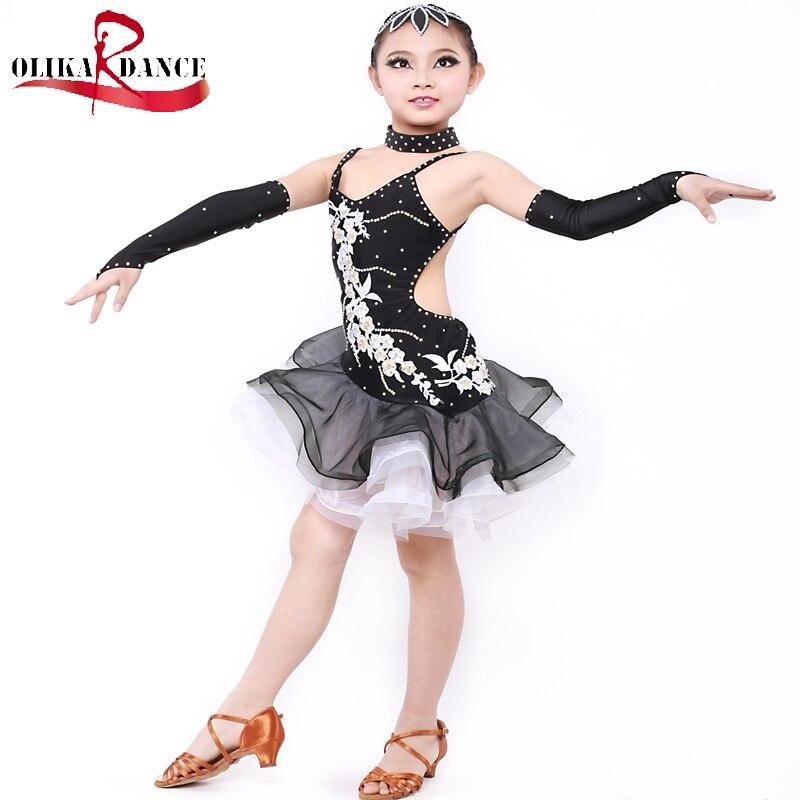 Diamond <font><b>Ink</b></font> Black salsa costume for kids Performance dress <font><b>dance</b></font> latin for girl competition latino <font><b>dance</b></font> dress girls dancewear