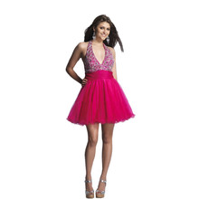 Kurze Heimkehr Kleid Friesen Backless Halter Top Cocktailkleid in fuchsia