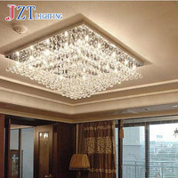 T Modern Luxury Crystal Ceiling Light LED Rectangular For Restaurant Romantic Simple Remote Control Indoor Living