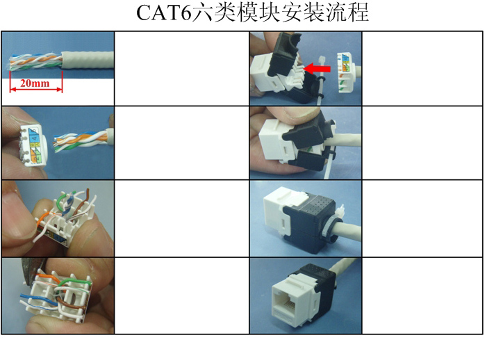 Gigabit RJ45 CAT6 Keystone Jacks Modules Tool free Connection Orange ...