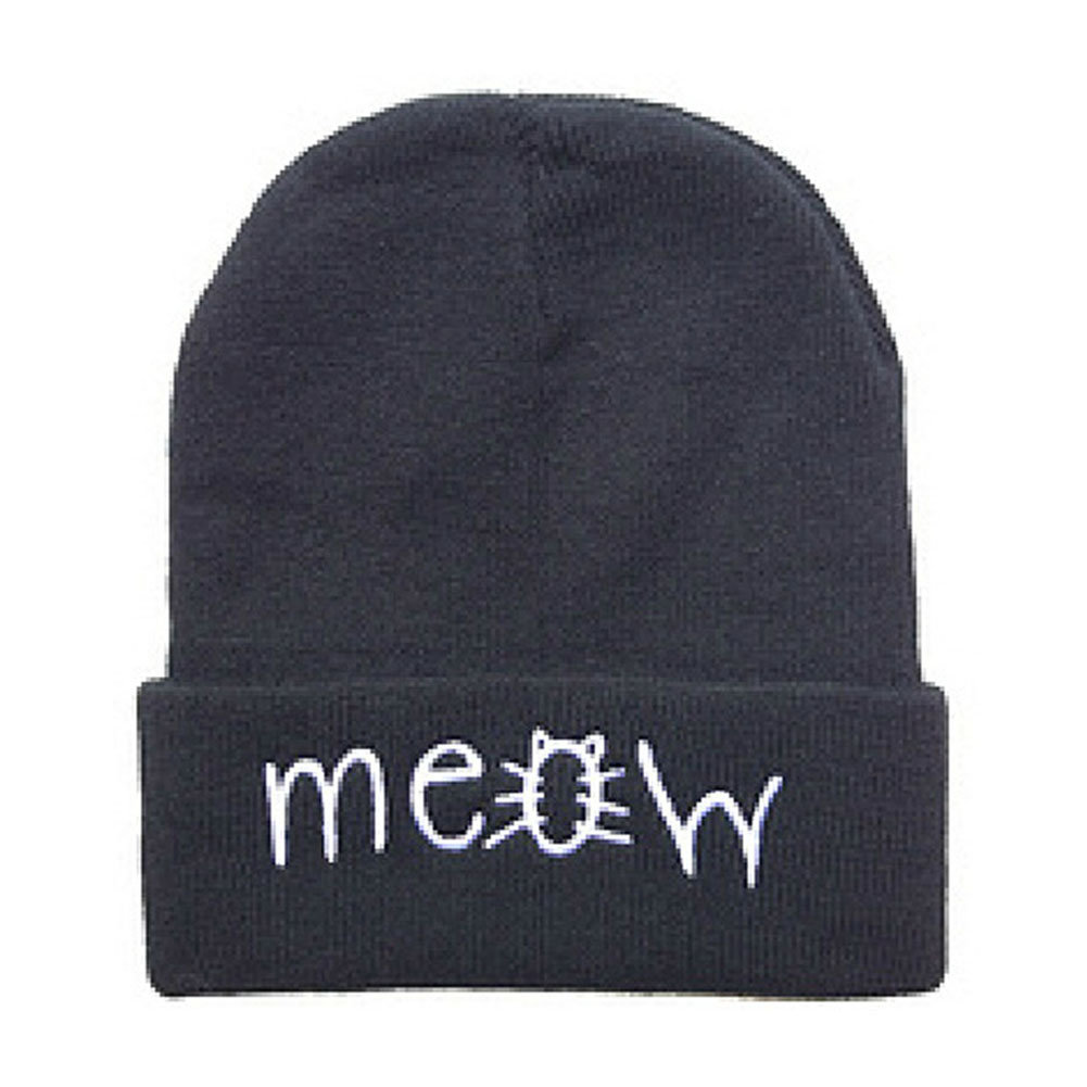 Fashion MEOW Cap Men Casual Hip-Hop Hats Knitted Wool Skullies Beanie Hat Warm Winter Hat for Women 2017 New leather skullies cap hats 5pcs lot 2278