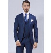 2016 Custom Made Handmade 3 PCS Men's Groom Tuxedos Best Man Groomsmen Wedding Men's Suits Prom