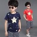 Meninos roupas de verão conjuntos de roupas de algodão crianças 2 pcs estrela imprimir manga curta t-shirt + calças, meninos ternos de roupas para 6-14 anos