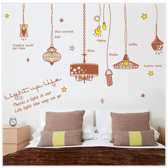 Free shipping Korean style light shape wall stickers decoration home decal decor bulb lamp light fashion cute HF05