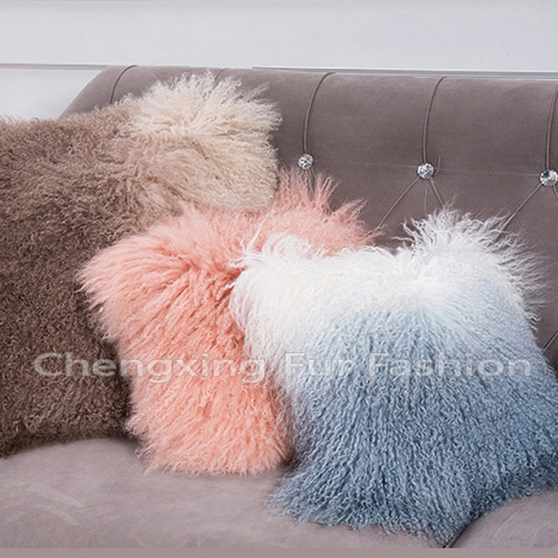 Free Shipping CX D 04B/Z Custom Made Mongolian Lamb Fur Pillow Case ~Drop Shipping