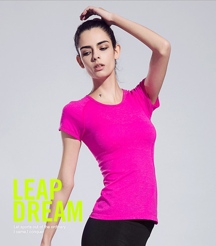 Gym compression tights womens sport running short sleeve t-shirts fitness women clothes tees anti-wrinkle breathable