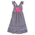 Nueva Moda Niño Niñas Primavera Verano Largo Vestido de Rayas Bordado Tiburón Ropa Boutique Remake Kids Ruffle Dress DX004