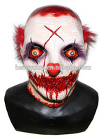 Halloween Party Cosplay Horror Halloween Latex Scary Clown Maske mit Rote Haare Narr Joker Gesicht Maske Kostüm