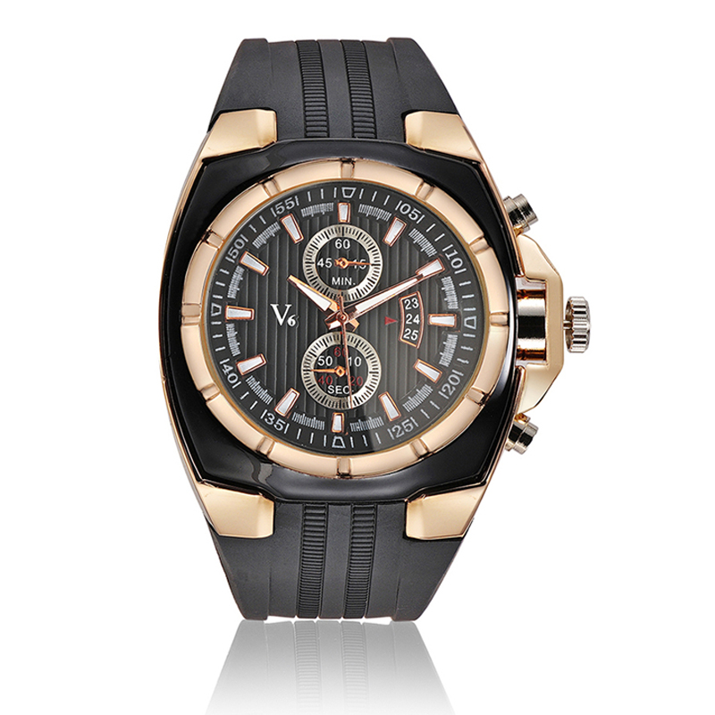 2017 New Brand V6 Watch Men Military Sports Watches Fashion Silicone Waterproof Analog Date Rose gold Watch For Men Clock weide new men quartz casual watch army military sports watch waterproof back light men watches alarm clock multiple time zone