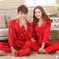 Sexy rendas mulheres pijamas de seda primavera outono casal conjuntos de pijama com decote em v de mangas compridas pijamas pijamas pijama casual femme S0081