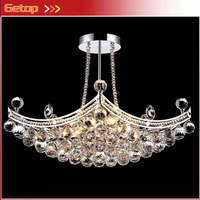 ZX Hot Sale Rectangle K9 Crystal E14 Ship Type Hanging Chandelier Lamp Living Room Hotel Hall Bedroom Dining Room LED Included