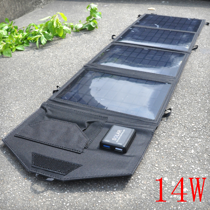 14W 5V Portable Folding Solar Charger Solar Panel Battery Charger Backup For Cell Phone Charger High Quality