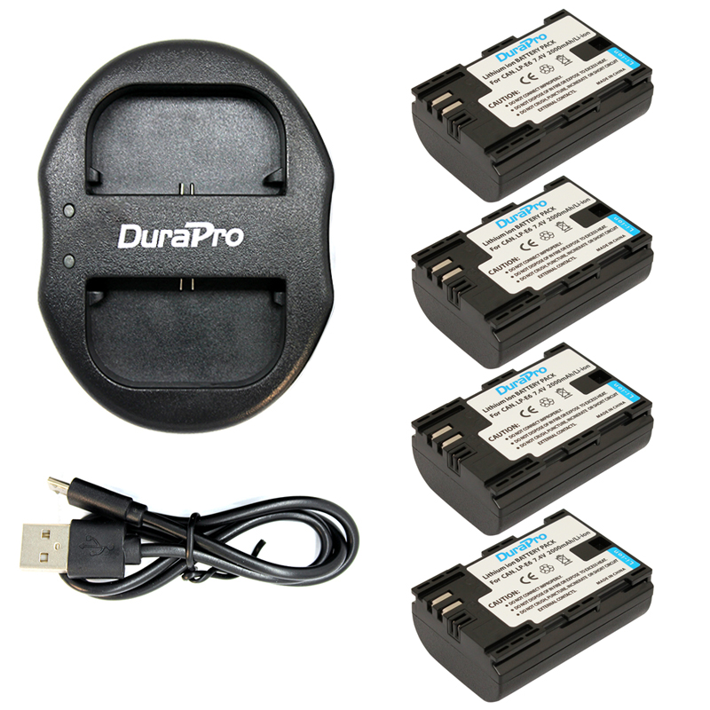 DuraPro 4 Pack LP-E6 LP-E6N 2000mAh LP E6 LPE6 Camera Battery + USB Dual Charger For Canon 5D Mark II III 7D 60D EOS 6D durapro 3pcs lp e6 lp e6n battery lcd usb charger for canon eos 5d 5d2 5ds mark ii 2 mark iii 3 6d 60d 7d 7d2 7dii 70d 80d
