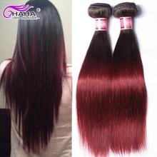Ombre Virgin Brazilian Hair Straight 2PCS 1B 99J Natural Black Burgandy Chocolate Virgin Human Hair Products