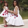 2016 Hermosa Flor Blanca Vestidos de Las Muchachas con el Cordón Rojo Madre e Hija Vestido A-line Niñas Cabritos del vestido del Desfile Prom Vestidos