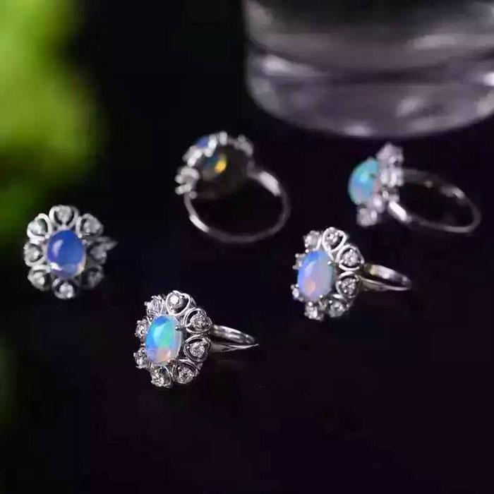 Opale naturelle gemmes anneau véritable solide 925 en argent sterling pierre taille 7*9mm femme fine couleur pierres bijoux - 5