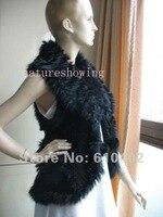 реальный кроличий мех и шерсть линия трикотаж жилет / пальто