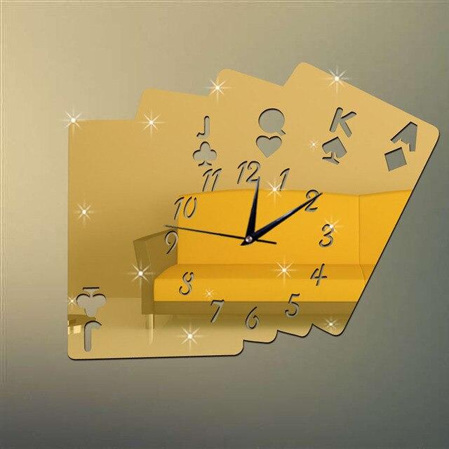 2016 Mới Poker Gương Đồng Hồ Treo Tường Trên Tường Thời Trang sang trọng Và Cổ Điển Kim Đồng Hồ Cho Phòng Khách Chơi Thẻ dán