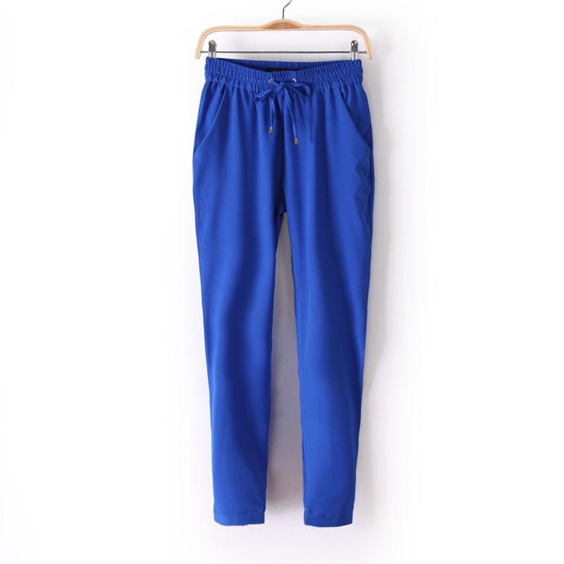 Chiffon Elastic Waist Solid Color Office Pants 11