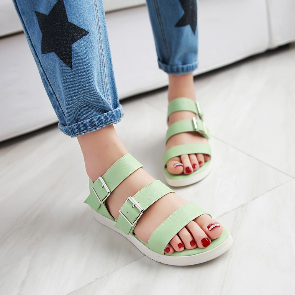 summer Casual Women shoes Round Toe buckle strap Solid color Flat bottom Soft l