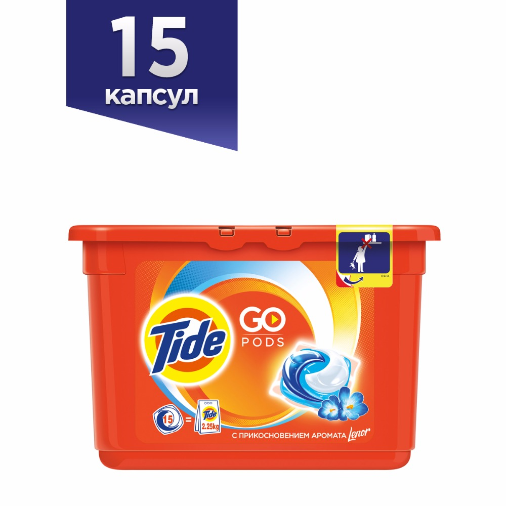 Фото Washing Powder Capsules Tide Touch of Lenor Fresh Pods (15 Tablets) Laundry Powder For Washing Machine Laundry Detergent