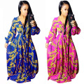 Long Gown Fashion Print Loose Maxi Dress Long Sleeve V neck Dress 2017New Sexy Party Dresses Vestidos De Fiesta Largos Elegantes