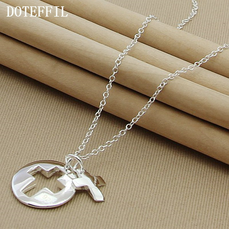 Hot Sale Girls Fashion Simple 925 Sterling Silver Round Cross Pendant Necklace For Women Jewelry