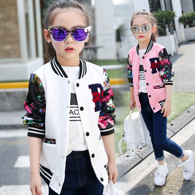 Coats For Girls Cotton Casual Children Jackets For Girls Long Sleeve Cartoon Big Kids Clothes Spring Active Sports Girls Jackets