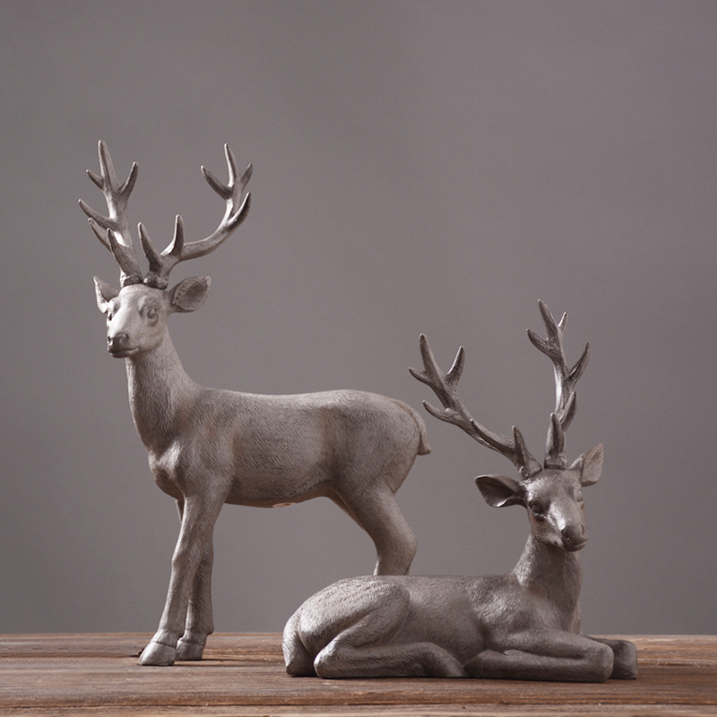 retro resin elk American village style home furnishing dcor craft Nordic vintage hand ma ...