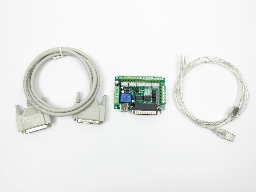 Verbesserte 5 Achsen CNC Interface Adapter Breakout Board Für Schrittmotor Fahrer Mach3 + USB Kabel + DB25 parallel kabel