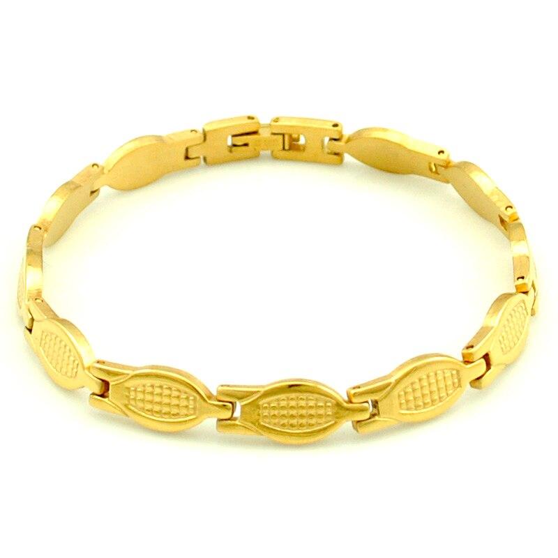 8b48d7313d77 Nueva moda de las mujeres pulsera oro color 21 cm   8mm 316L acero  inoxidable para la señora joyería gótico moda estilo regalo HB1123