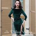 le palais vintage women 50s green velvet long sleeve wiggle sexy pencil dress pinup vestidos plus size 4xl dresses jurken robe