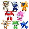 8 unids/lote Alas Súper Juguetes Mini Avión Jet ABS Transformación Robot juguetes Figuras de Acción Super Ala Animación Niños Embroma el Regalo