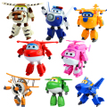 8pcs/lot Super Wings Toys Mini Airplane ABS Robot toys Action Figures Super Wing Transformation Jet Animation Children Kids Gift
