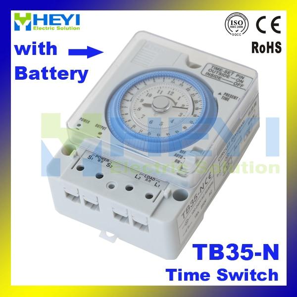 TB-35 / TB35-N AC110V-220V 10A mechanical timer Manual /Auto Control Timing Range 24h time switch with Battery ножницы для живой изгороди 10 truper tb 17 31476