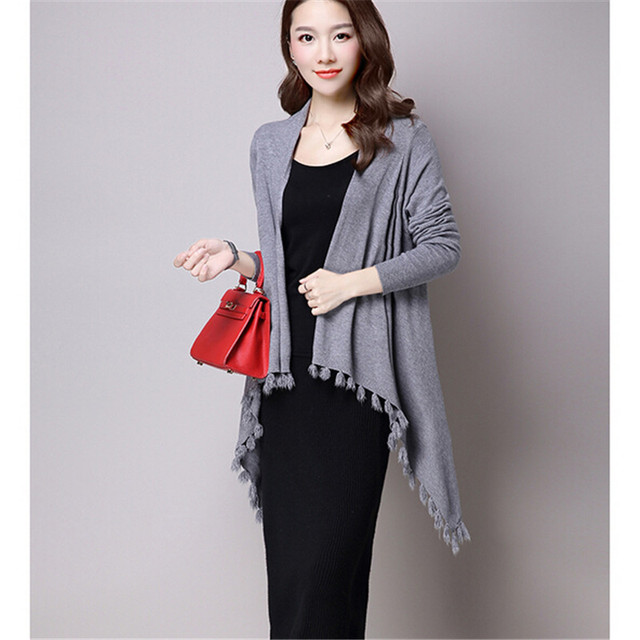 fa07562f83 Fashion Shawl Women Autumn dress Latest Cape type Knitting cardigan Coat  Tassel Long sleeve High quality Women s clothes BN1488