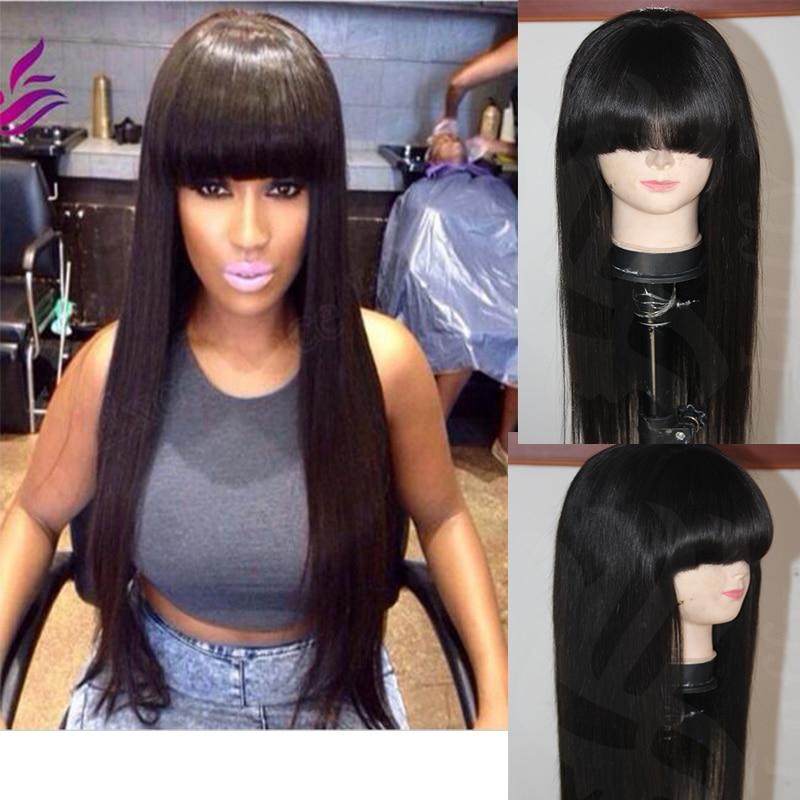 Virgin Peruvian Chinese Bang Wigs Full Lace Front Human Hair