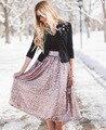 Мода Европа Блестки Роскошные Золотые Женщины Качели Юбки American Apparel Высокая Талия Юбки Saia Midi Юп Роковой Де Marque
