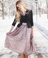 Fashion Europe Sequins Luxury Gold Women Swing Skirt American Apparel High Waist Skirts Saia Midi Jupe Femme De Marque