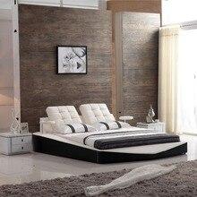 Современный Дизайн Натуральная кожа белый цвет кровать 0410
