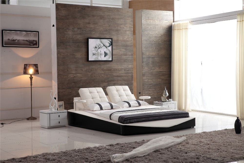 modern design genuine leather white color bed 0414 806 - Modern Bed Frames Cheap
