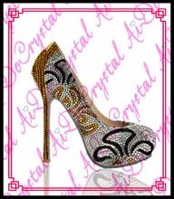 Aidocrystal handmade fashion frauen strass pumpen sexy gold heel stiletto high heels damen abendgesellschaft hohe ferse schuhe