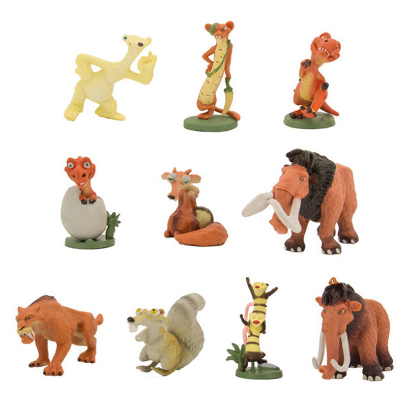 <font><b>Animals</b></font> Anime Brinquedos Ice Age 4 <font><b>Action</b></font> <font><b>Figure</b></font> <font><b>Toys</b></font> 10pcs/lot Ice Age <font><b>Figure</b></font> <font><b>Model</b></font> Drift Mammoth Saber-toothed <font><b>Tiger</b></font> Kids <font><b>Toys</b></font>