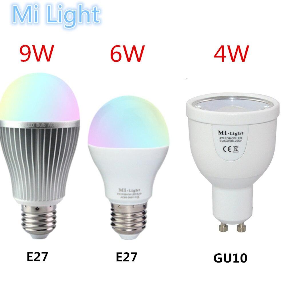 2.4G Wireless Mi-light LED Bulbs 85-265V Dimmable GU10 E27 Led Lamp 4W 6W 9W RGBW RGBWW Led Light Bulb