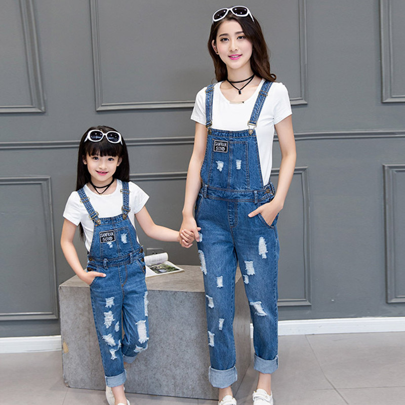 2016 new family look matching mother and daughter clothes for Matching denim shirt and jeans