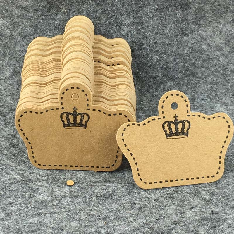 Kraft Cardboard Crown Shape Pattern Tags 400PCS 5.1*4cm