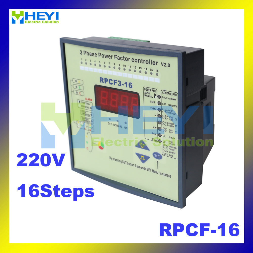 Split Phase Power Factor Correction 16step Jkwf16/ RPCF-16 220v Reactive power compensation controller split