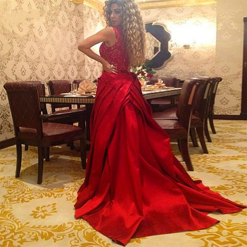 Evening Dresses Elegant Red Lace Kaftans Evening Dress Turkey 2019 Formal Long Caftan Dubai Arabic Gowns With Detachable Train Robe Sirene
