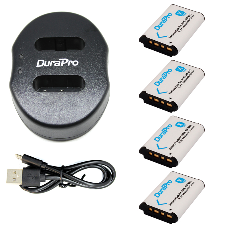 DuraPro 4 pc NP-BX1 NP BX1 NPBX1 Batterie + Double bateria chargeur Pour Sony HDR-AS200v AS20 AS100V AZ1 DSC-RX100 X1000V WX350 RX1 AS15