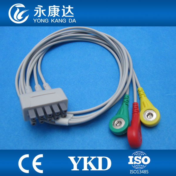 GE Dash 1000 three lead ECG cable and leadwires IEC snap ending